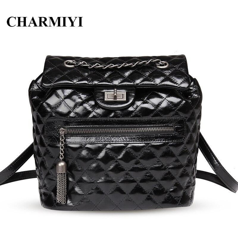 CHARMIYI Oil wax Genuine Leather Women Backpacks Vintage School Backpack for Teenage Girls Luxury Brand Tassel bags travel bag