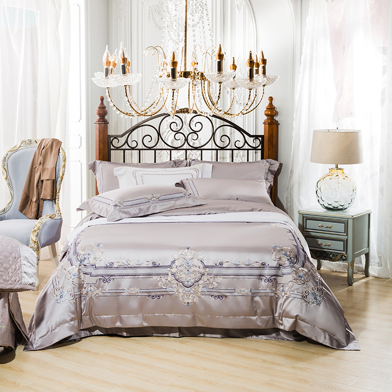 Luxury wedding 4 Pcs Bedding Set tencel cotton Bedclothes  palace embroidery Bed Linens Duvet Cover Set Bed Sheet Luxury wedding 4 Pcs Bedding Set tencel cotton Bedclothes  palace embroidery Bed Linens Duvet Cover Set Bed Sheet