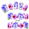 1 sheet Purple Flowers Nail Water Decals Blooming Floral Transfer Stickers Nail Art Sticker Tattoo Decals XF1405