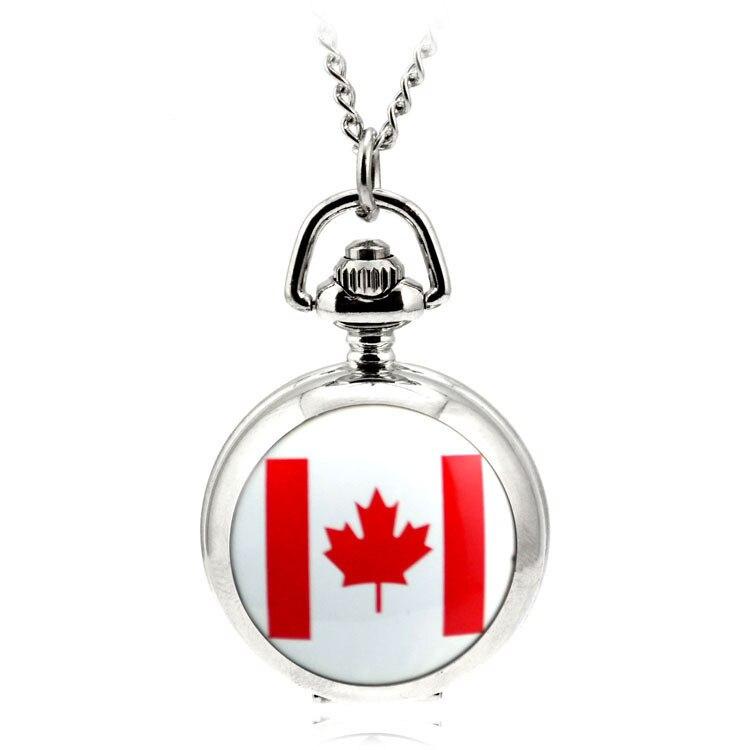 Modern Fashion Ceative Silver Quartz Pocket Fob Watch Necklace Pendant Relogio De Bolso Women Pendant Necklace Watch Canada Flag