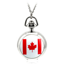 Modern Fashion Ceative Silver Quartz Pocket Fob Watch Necklace Pendant Relogio De Bolso Women Pendant Necklace Watch Canada Flag(China)