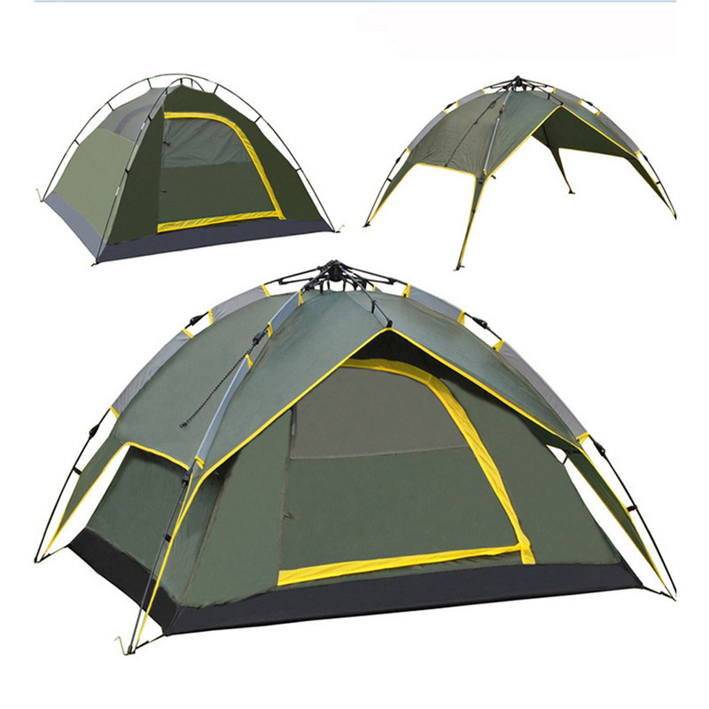 3-4 Persons Tent Double Layer Rainproof Outdoor Tourist Camping Hiking Hike Travel Play Tent Army Green outdoor double layer 10 14 persons camping holiday arbor tent sun canopy canopy tent