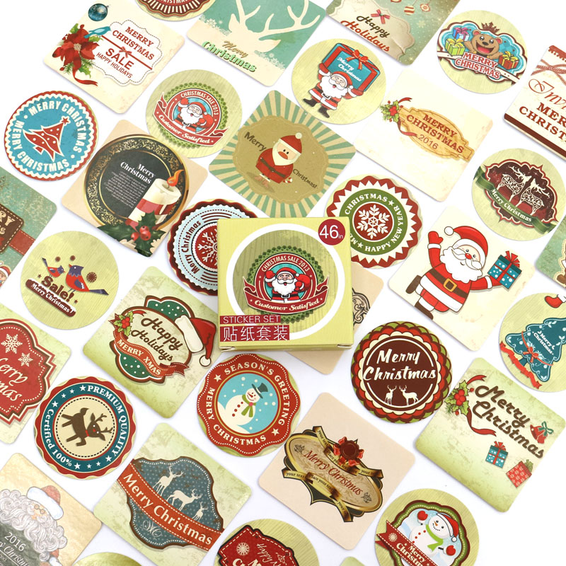 Creative Christmas Theme Paper Sticker Decoration DIY Diary Scrapbooking Planner Gift Packing Seal Kawaii Stationery 46pcs/box