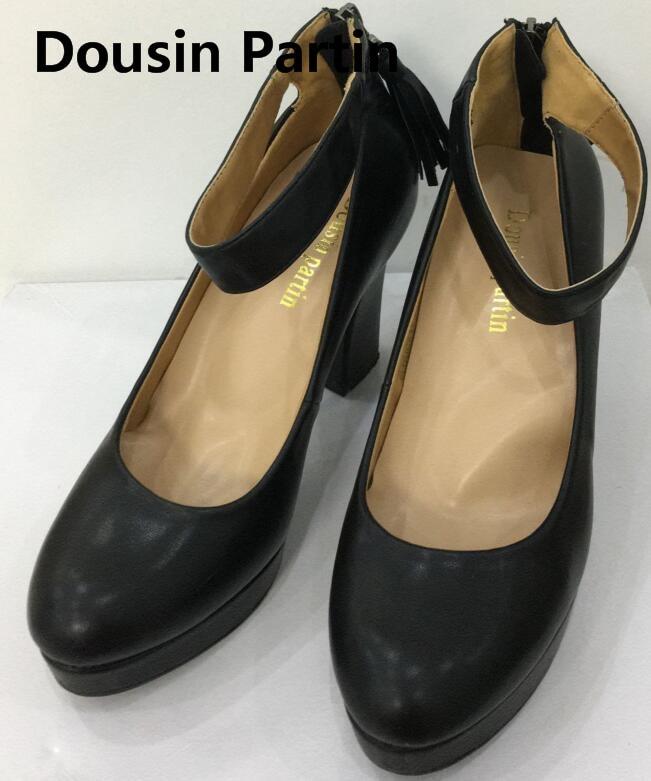 Dousin Partin 10cm High Heels 2018 Pointed Toe Strap Zipper Up Women Shoes Platform shoes woman