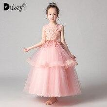 Plus Size Princess Dress Elegant Flower Girl Wedding Sequins Layered for Evening Prom Teens Long Frocks