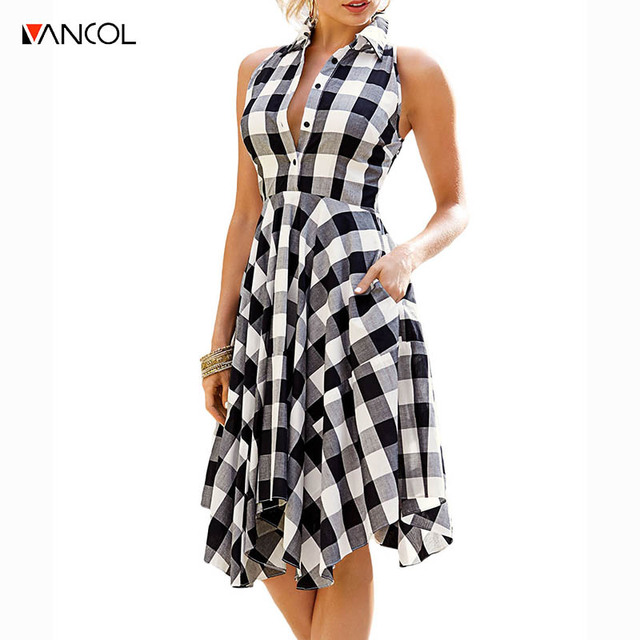 ce5abc00026b01 vancol 2017 vintage women summer dress plaid party sexy flamingo midi dress  bodycon dress vestidos plus size cheap clothes china