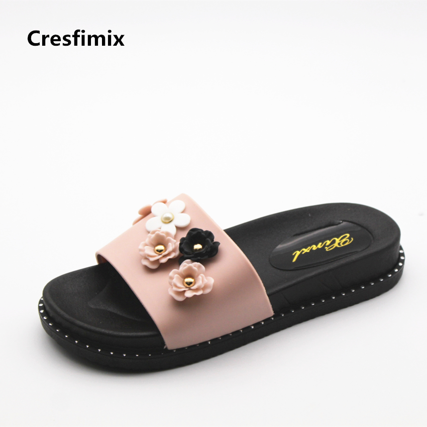 Cresfimix women fashion soft & comfortable spring slip on slides lady casual floral print platform slippers female cool slippers cresfimix women fashion spring