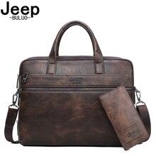 BULUOJEEP Brand Man's Business Briefcase Bag 2pcs/set Split Leather Shoulder Bag Men office Bags For 14 inch Laptop A4 Causel