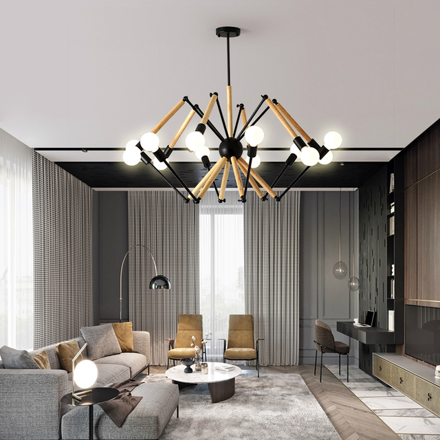 Modern LED Chandelier Wooden Bedroom Lighting Fixtures Home Deco Hanging  Lights Nordic Illumination Living Room Suspended