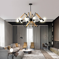 Modern LED chandelier wooden bedroom lighting fixtures home deco hanging lights Nordic illumination living room suspended lamps