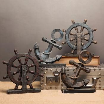 Timón de barco de madera creativo Mediterráneo europeo, figura Retro del ancla del timón Dekor, accesorios de reloj, decoración náutica para el hogar