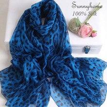 Натуральный шелковый шарф, роскошный бренд, женский чистый тонкий Шелковый пашмины, летнее пляжное парео, синие шарфы с леопардовым узором, Весенняя накидка