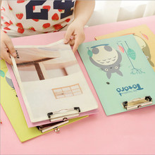 A4 File Folder Plywood Invoice Data WordPad Double Clip Pad Cartoon Clipboard Folder for Documents Office Supplies