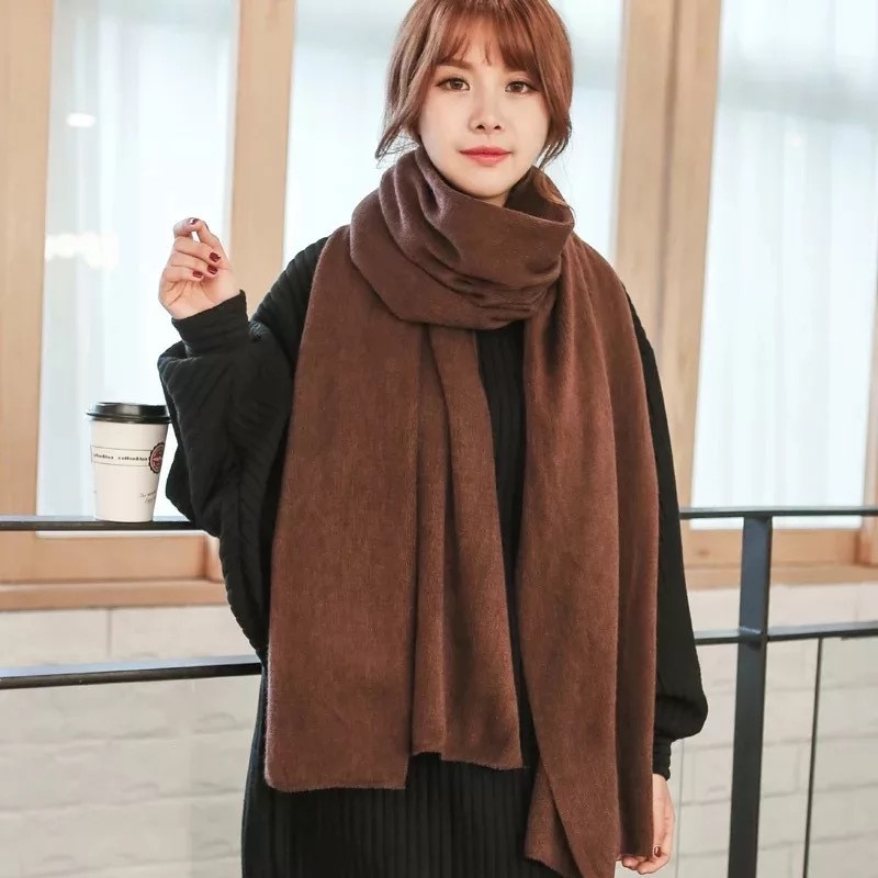 2019 Fashion Winter Women Cashmere Scarf Solid Knit Pashmina Female Foulard Shawls Wraps Thick Scarves Bufandas Invierno Mujer