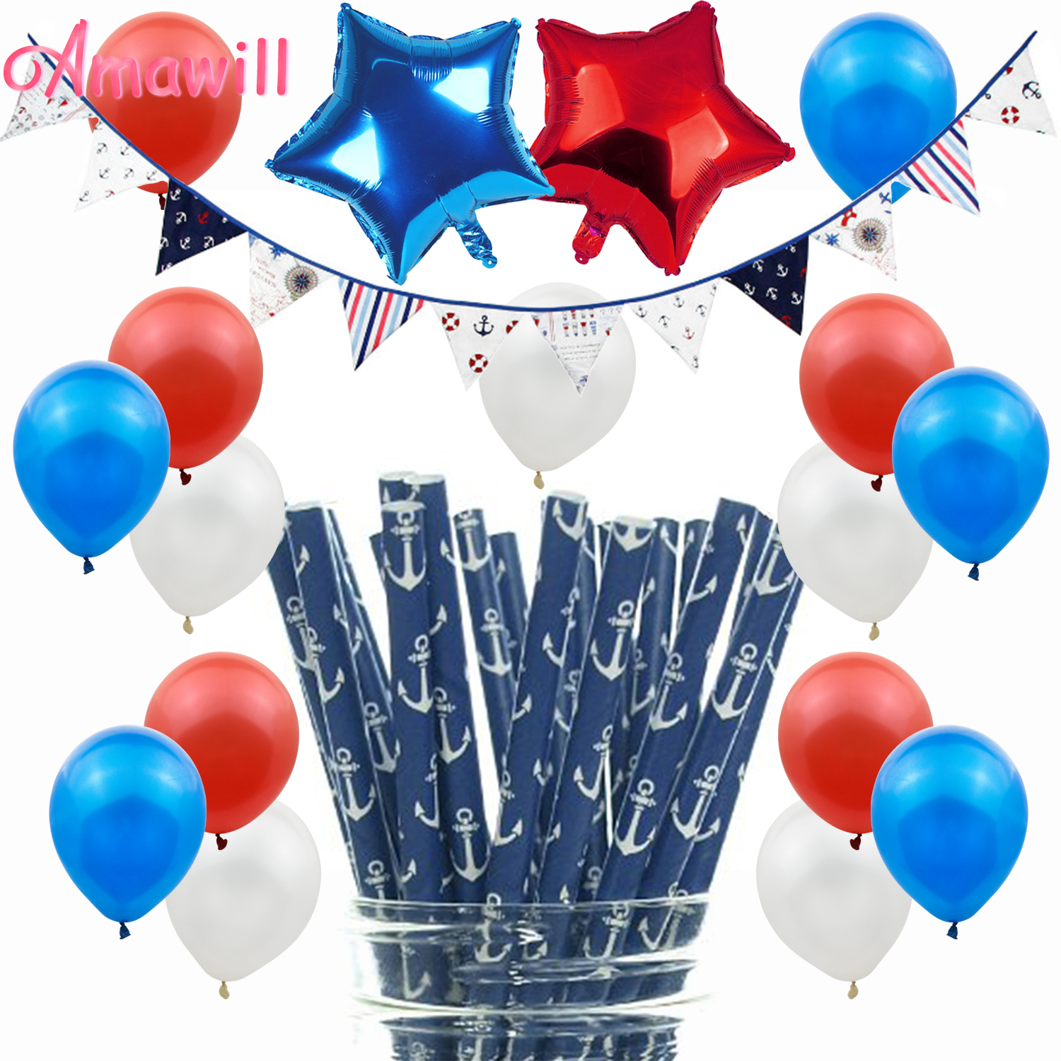 Us 1 04 19 Off Amawill Nautical Theme Party Decorations Kids Birthday Anchor Pennant Cotton Banner Baby Shower Boys Birthday Party Supplies 8d In