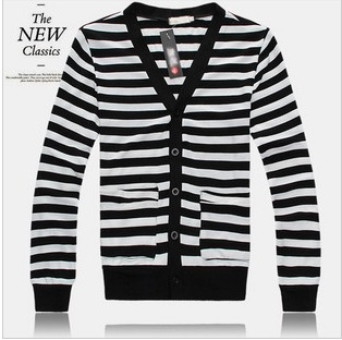 Autumn sea military lovers V neck sweater black and white stripe ...