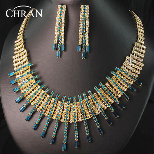 CHRAN Classic Gold Color Costume Wedding Jewelry Accessories Promotion Rhinestone Indian Style Bridal Jewelry Sets for Women
