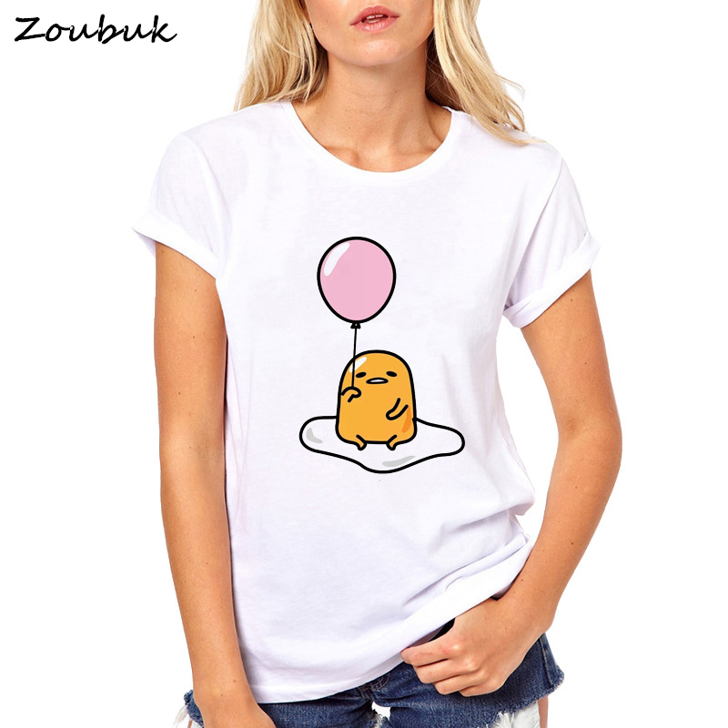 Summer Gudetama Lazy Egg Yolk print funny t shirt women fashion kawaii graphic cartoon tshirt female novelty cool Tops tee shirt