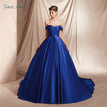 e93eff7b839 Satin Burgundy Evening Dresses 2019 Off the Shoulder Princess Ball Gown  Evening Gowns Long Train Vestido