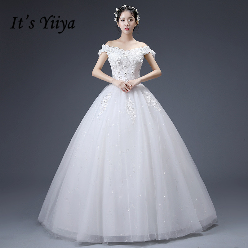 Simple Wedding Dresses Boat Neck: It's YiiYa Boat Neck Wedding Dress Appliques Floor Length
