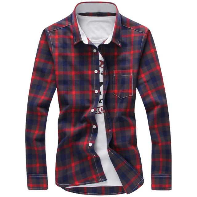 Клетчатые Рубашки Мужчин Красный М-5XL Качество 2017 Горячей Продажи Рубашки Новый Хип-Хоп Мода Camisa Плюс Размер Повседневные Мужские Рубашки