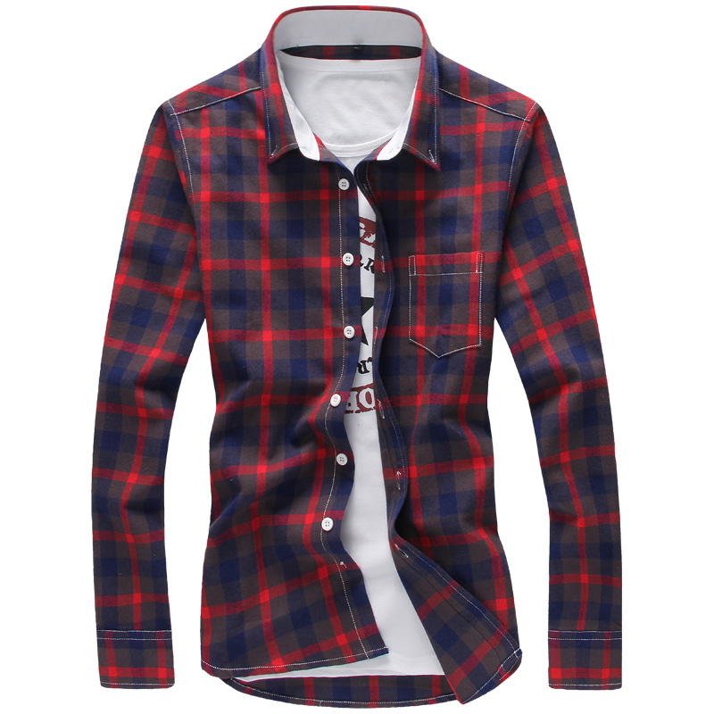 Buy Plaid Shirts Men Red M 5xl Quality