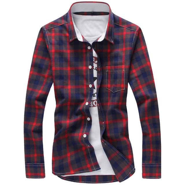 Plaid Shirts Men Red M-5XL Quality 2017 Hot Sale Dress Shirts Brand New Fashion Hip Hop Camisa Plus Size Casual Men Shirts