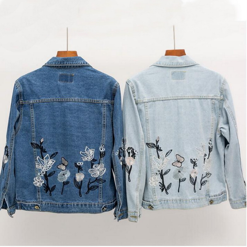 font b Women b font Flower Butterfly Embroidered Denim Short font b Jacket b font