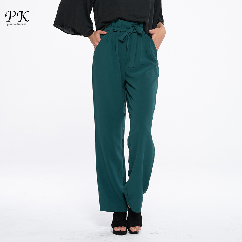 PK Pleated High Waist Casual   Pants   Women OL Autumn Trousers Femme Drawstring Chiffon Wide Loose Bottom Female   Pants     Capris