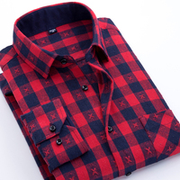 Spring Autumn Flannel Plaid Men Shirt Long Sleeve Design Brushed Casual Slim Fit Luxury Male Check