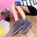 Nueva Moda de Las Mujeres Zapatos de Las Señoras Del Tobillo Botas Forradas De Piel de Invierno Otoño Botas de Nieve Caliente Al Aire Libre Zapatos de Mujer Casual de Alta Calidad