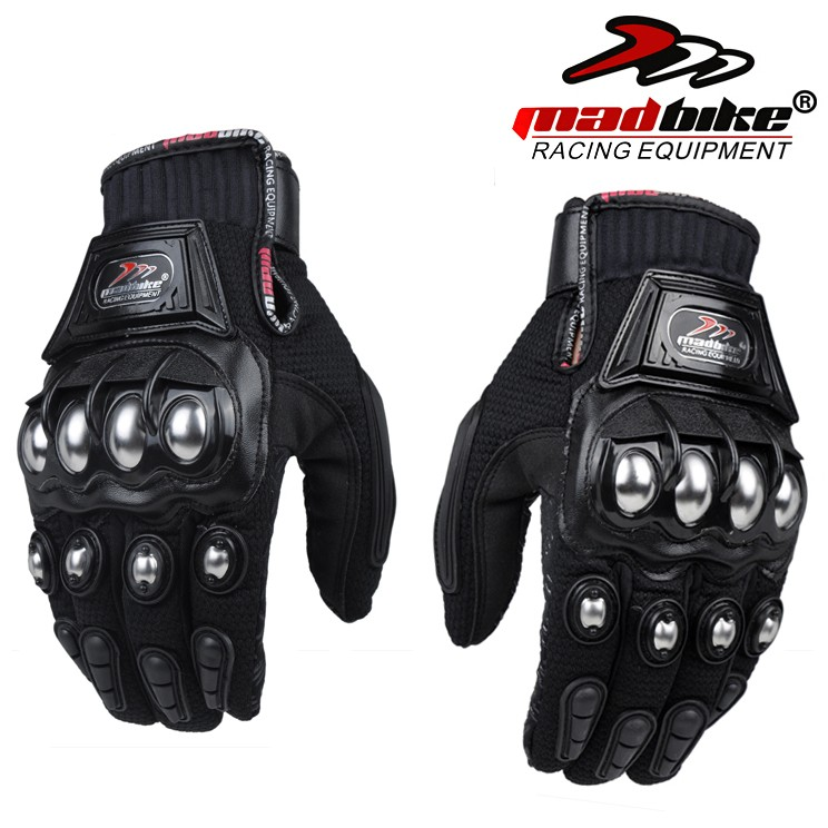 Mad-Bike-Outdoor-Sports-full-finger-knight-riding-motorbike-Motorcycle-Gloves-Breathable-Mesh-Fabric-men-steel