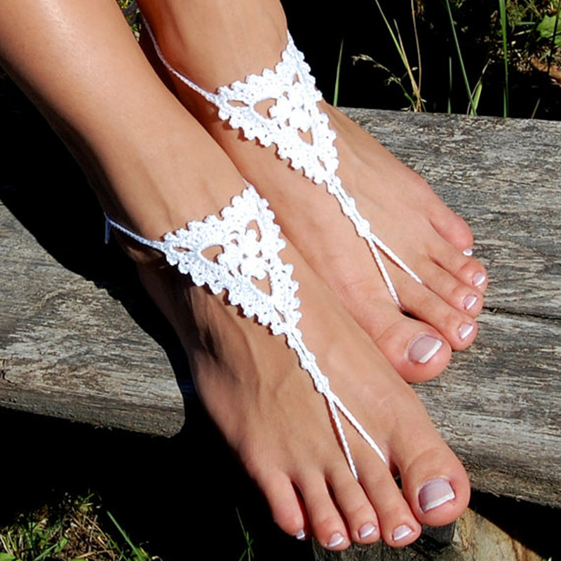 Woman/'s Lace Foot Jewelry Openwork Crochet Barefoot Sandals Long Ties Beach Wedding Accessory White or 27 colors Set of 2.