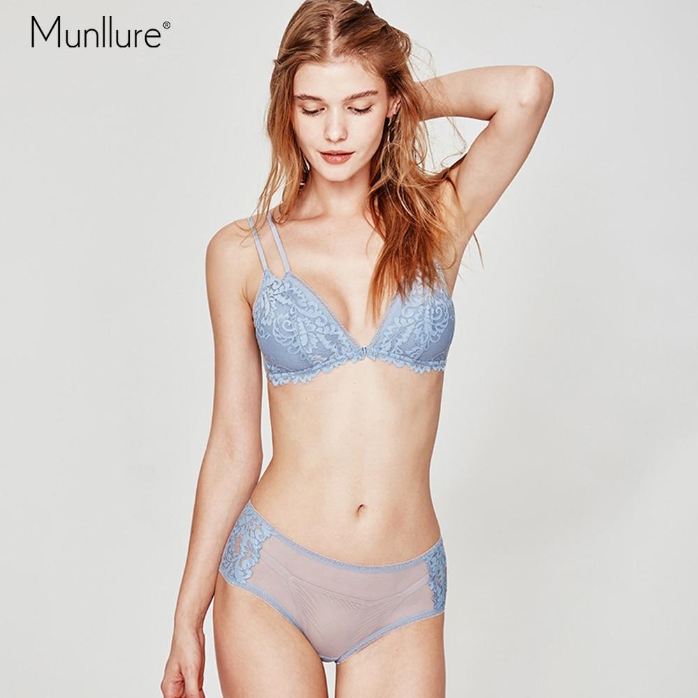 Munllure Blue no steel ring bra ultra thin lace triangle cup non slip shoulder strap underwear briefs suit women bra setBra & Brief Sets   -