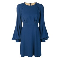 Sisjuly Women Casual Dresses Spring Autumn Blue Plain Long Sleeve Lace Up O Neck Lantern Sleeve