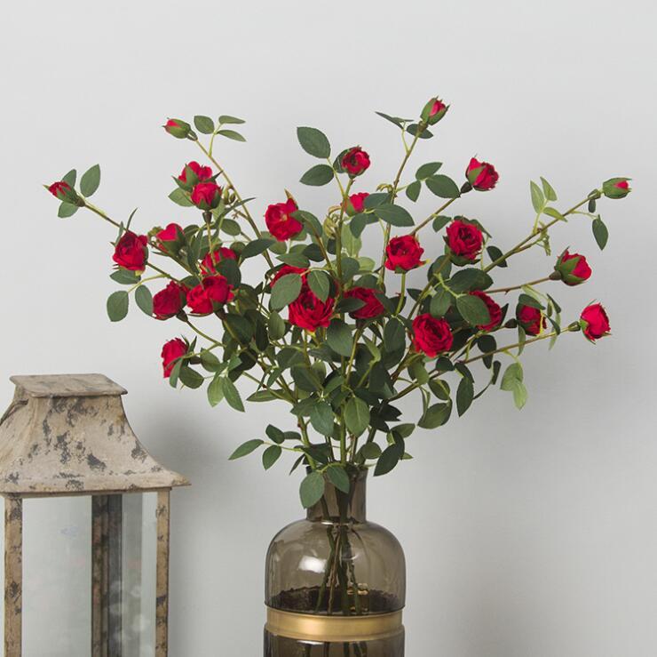 2018 nouveau 6 têtes petit thé Rose branche soie fleurs artificielles faux fleur camélia pour la décoration de la maison soie plastique flores