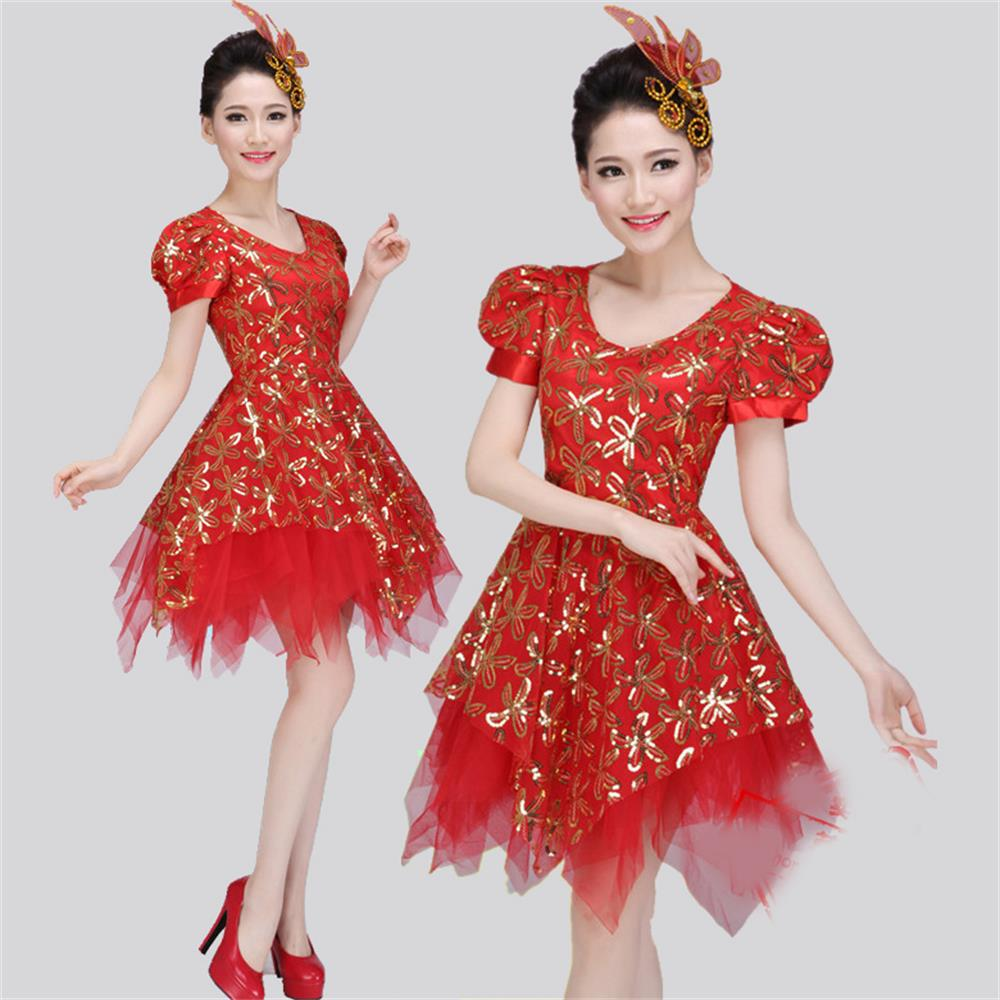 The new adult Shaqun princess Pompon skirt Puff Sleeve Sequin presided over the stage performance clothing costumes