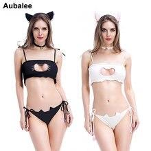 f0d43bf3191e 4 piezas niñas adultos adorable Kawaii Cute Cat hueco cerradura Bra mujer  ropa interior de dibujos