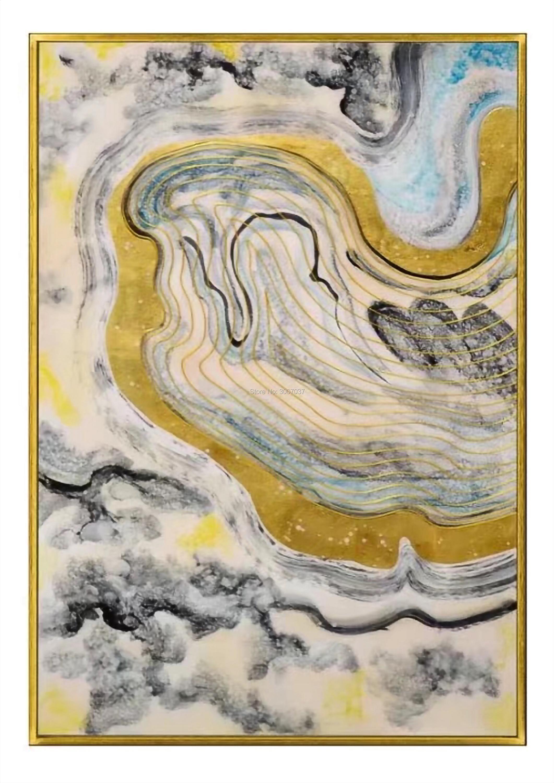Без рамы расписанную органический Стекло Абстрактная живопись на акрил пластины