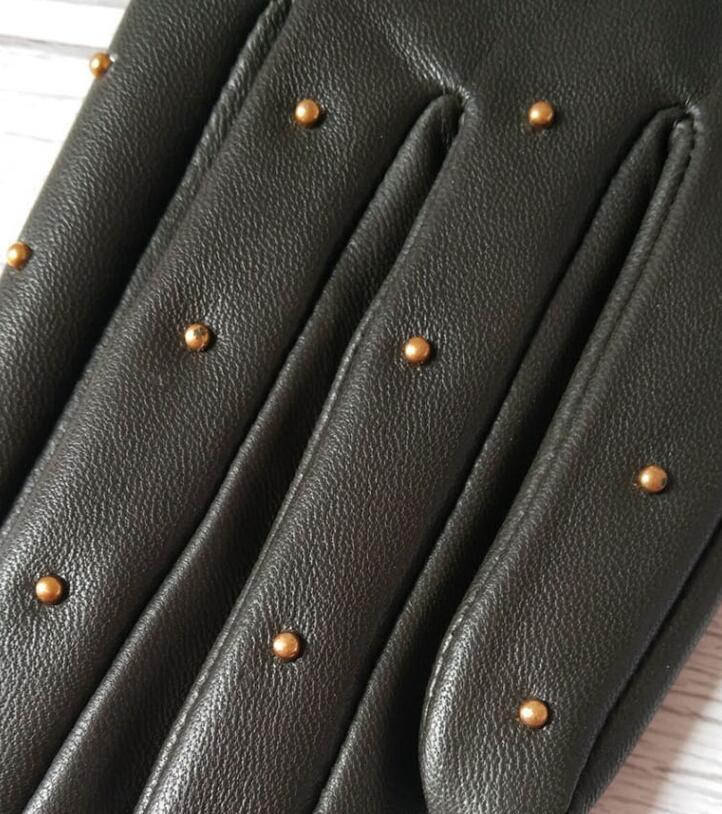 Image 2 - Женские перчатки из натуральной овчины на весну и осень, женские перчатки из натуральной кожи в стиле панк с заклепками, мотоциклетные перчатки для вождения R755-in Женские перчатки from Аксессуары для одежды on AliExpress - 11.11_Double 11_Singles' Day