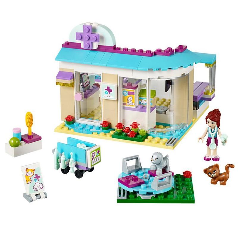 Clínica veterinária blocos de construção tijolos legoings 41085 amigos figura brinquedos meninas presente aniversário brinquedos dropshipping