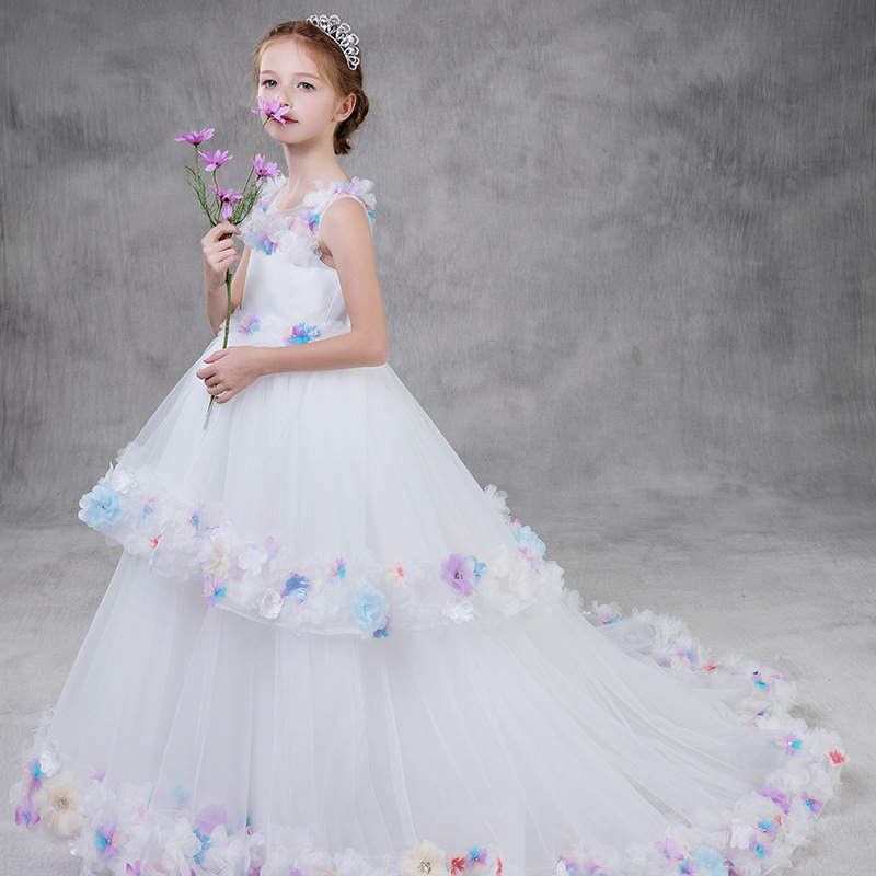 2019 New   Flower     Girls     Dress   White Lace Tulle Colorful O-neck Sleeveless   Flower     Girl     Dresses