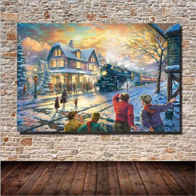 Vlak kolem Castel Sníh Krajina Olejomalba Nástěnné umění Domácí dekorace Plátno Malování pro ložnici Obývací pokoj Bez rámečku