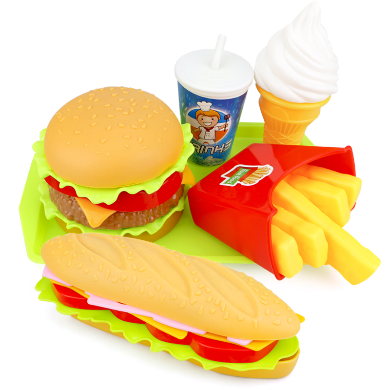 Children Simulation Food Hamburger Hotdog Kitchen Toy Set Pretend Play Miniature Snack Burger Educational Toys For Girl Kid(China)
