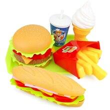 Imitacja jedzenia dla dzieci Hamburger Hotdog zestaw zabawek kuchennych udawaj zagraj w miniaturową przekąskę Burger edukacyjne zabawki dla dziewczynki Kid