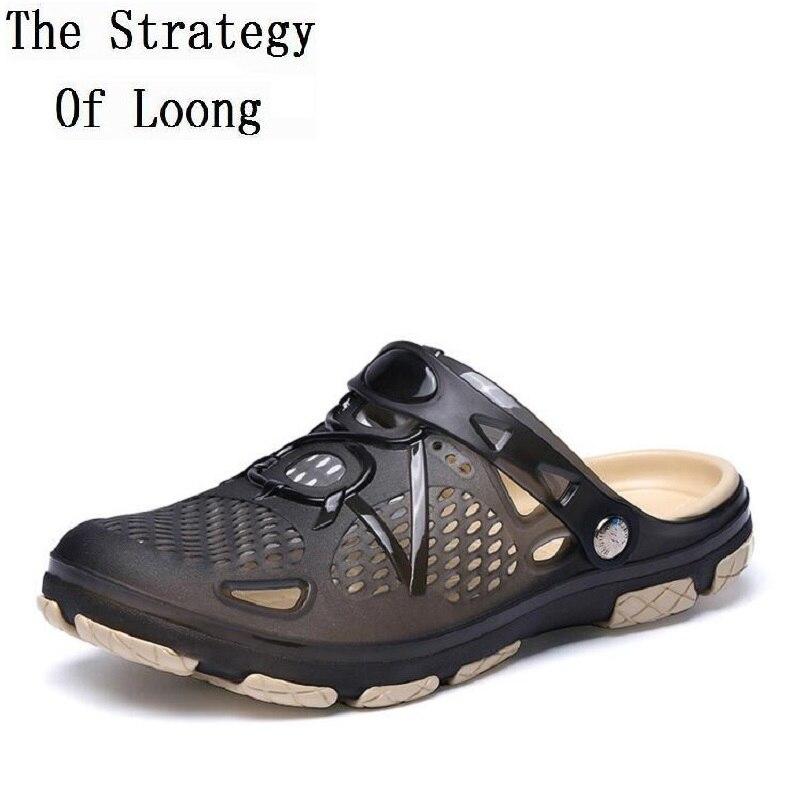 Men Cut Out Summer Closed Toe Buckle Sandals New Arrival Big Size Flat Casual Antiskid Man Jelly Shoes Plus Size EU44 EU45 1805