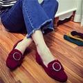 AVVVXBW Mujer Solos Zapatos 2016 Otoño de Tacón Bajo Las Bombas Bowtie Talón Grueso Hebilla Zapatos Dedo Del Pie Cuadrado de Las Mujeres femeninas Mujers