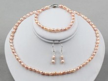 women big Jewelry set Genuine Natural Freshwater 6-7mm Pink Pearls Necklace, Bracelet and Earrings Set