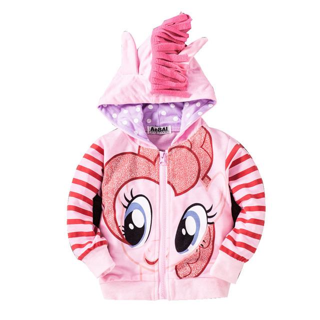 Pony de dibujos animados 2-10 años de muchacha de los niños sudaderas con capucha niños de manga larga sudadera ropa Casual para niñas sudaderas con capucha bebé