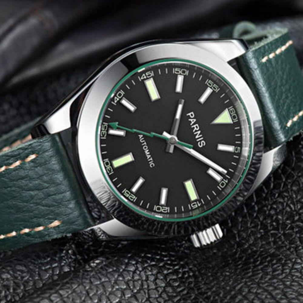 파르 미스 클래식 드레스 40mm 블랙 다이얼 빛나는 손 최고 브랜드 가죽 스트랩 사파이어 21 보석 miyota 자동 남성 시계-에서기계식 시계부터 시계 의  그룹 1